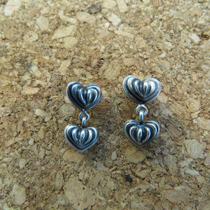 Lagos Caviar Heart earrings Dangle sterling silver